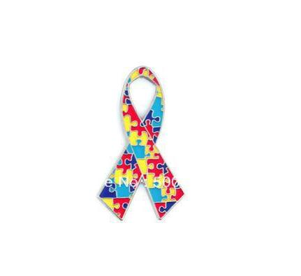 Colorful Puzzle bow ribbon Metal badge pin gifts (Iron  plated+Paints+epoxy+butterfly button) Free shipping (10pcs/lot)-in Pins &  Badges from Home &