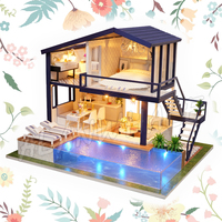 Miniature Doll House Time Duplex Apartment Swimming Pool Dollhouse Furnitures Crafts Adult Teenager Toys Model Building Kits