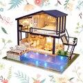 Miniature maison de poupée temps Duplex appartement piscine maison de poupée meubles artisanat adulte adolescent jouets maquettes Kits|Poupée Maisons| |  -