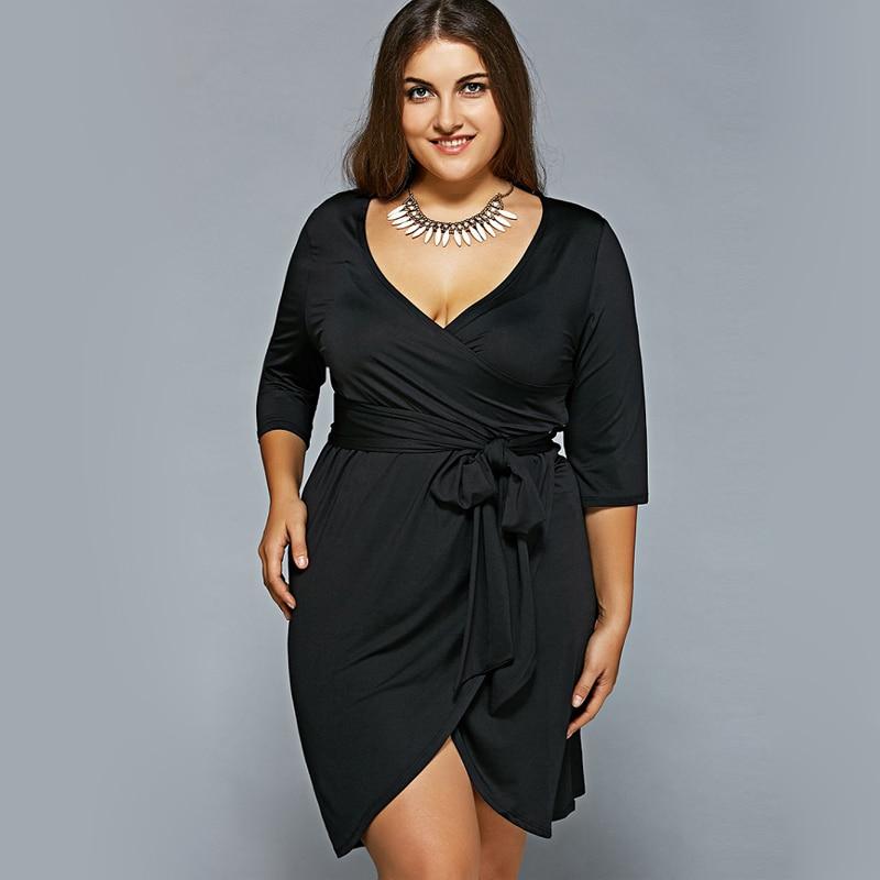 Fashion 2017 Autumn Big Size Dress Women Half Sleeve ...  Large