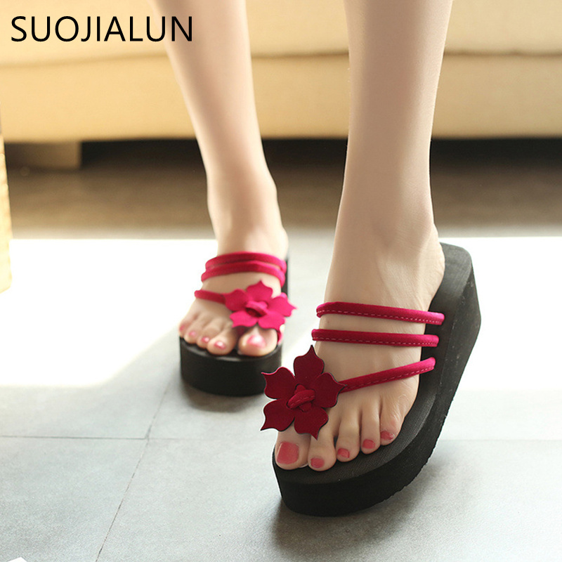 SUOJIALUN 2018 Spring Summer Woman Shoes Platform Slippers Wedge Beach Flip Flops High Heel Slippers For Women EVA Ladies Shoes senza fretta women shoes platform beach slippers flip flops wedge beach flip flops slippers for women brand eva ladies shoes