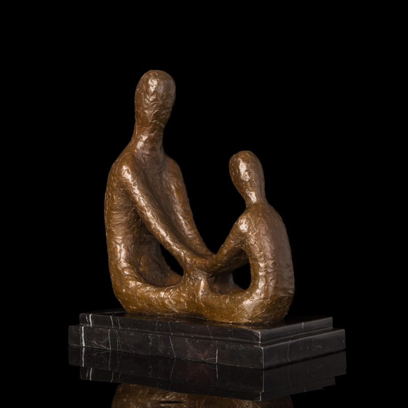 ATLIE BRONZESModern Art Sculpture Bronze Statue Abstract Paternal Love Figurines Antique Studio Decoration Gifts Father and Son