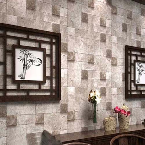 2016 3d stone wallpaper waterproof coffee wall paper for Grey brick wallpaper living room