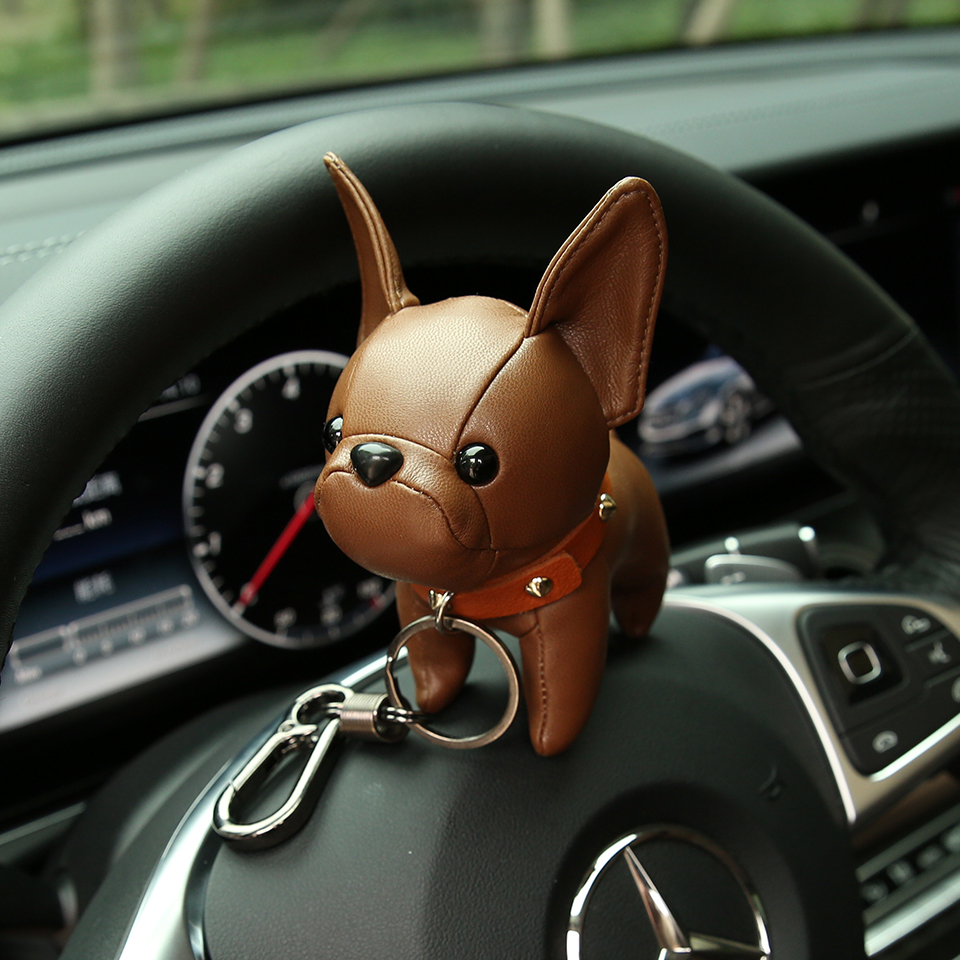 MPPM Bulldog Keychain Pu Leather Animal Dog Keyring Holder Bag Charm Trinket Chaveiros Bulldog Bag Accessories