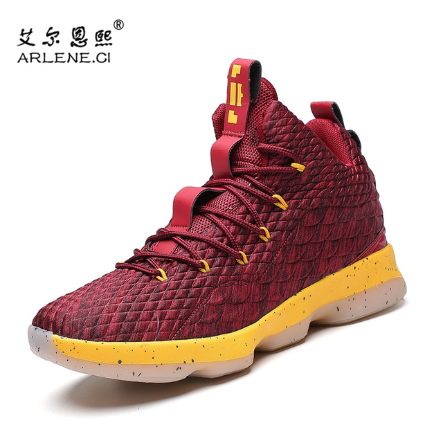 021f09a2ed919 2018 Hot Sale Man Cushioning Original Basketball Shoes High Top Lace Up Men  Sport Shoes Lebron James Basket Training Sneakers