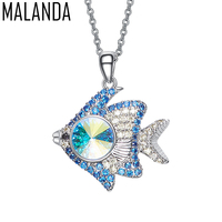 MALANDA New Fashion Blue Ocean Fish Shaped Pendant Necklaces Crystals From SWAROVSKI Necklaces For Women Jewelry