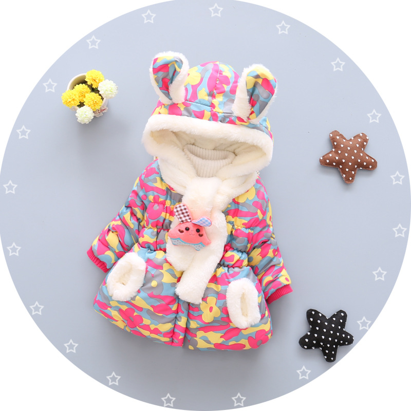 1 Bibihou Winter Cute Rabbit Baby Jacket Thick Cotton-Padded Baby Girl Outerwear Infant Baby Boys Parka Toddler Girls Snow Wear