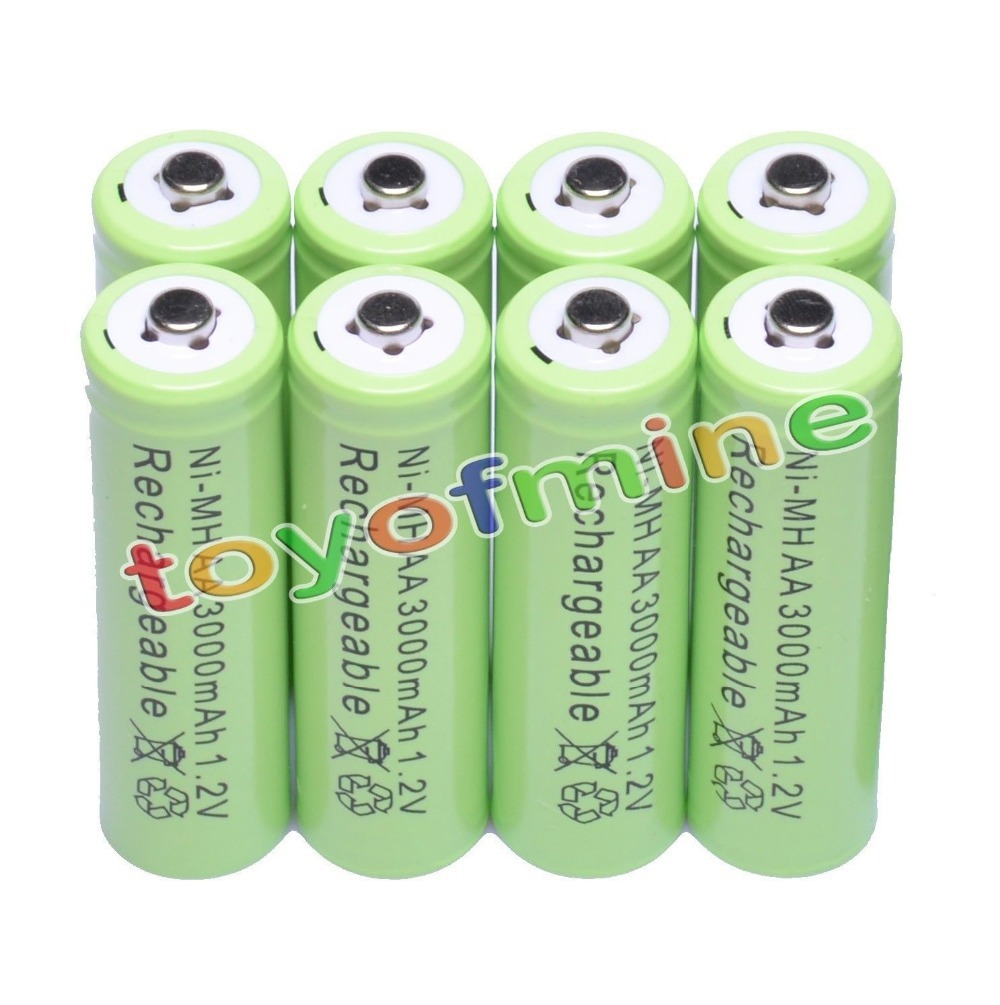8x AA 3000mAh 2A 1.2 V Ni-MH Green Rechargeable Battery Cell for MP3 RC Toys
