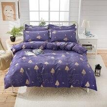 4PCS Bedding Set Polar bear and tree Print Duvet cover set blue bedclothes with pillowcase boys men bed home Textiles