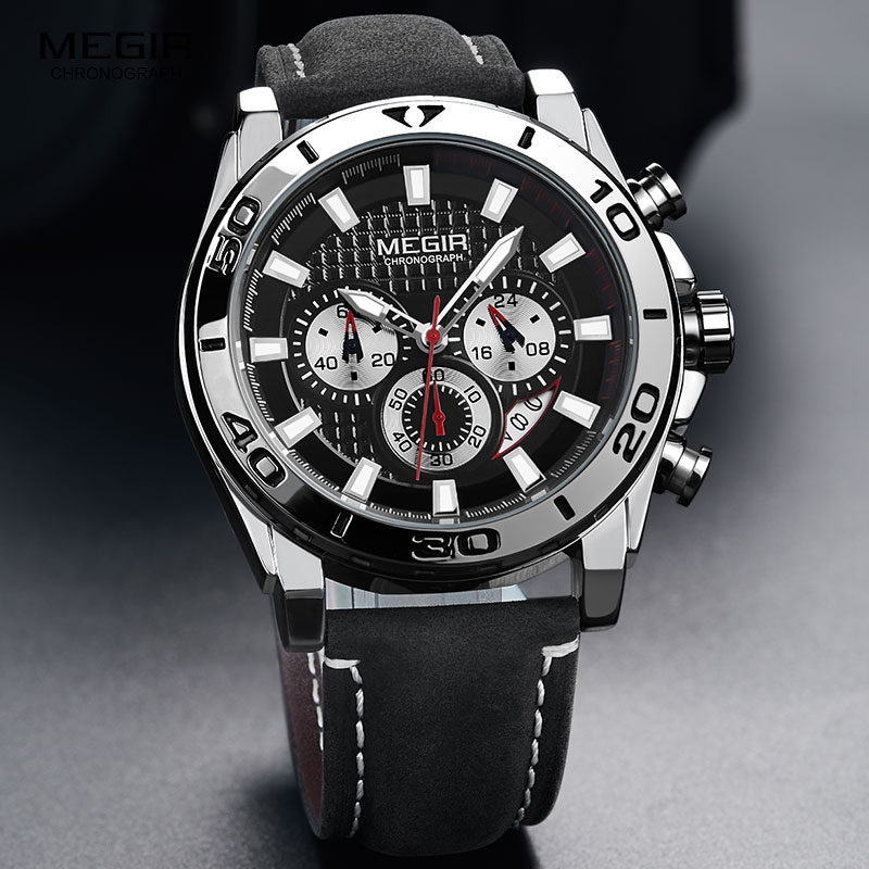Image 4 - MEGIR Mens Army Sports Chronograph Quartz Watches Leather Strap Luminous Waterproof Wristwatch Man Relogios Clock 2094 SilverQuartz Watches   -