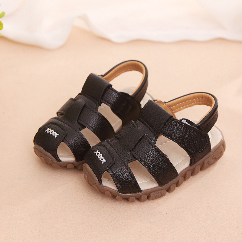 Summer Kids Sandals Comfortable Closed Toe Toddler Boys Sandals Soft Leather Baby Girls Shoes Beach Casual Children Shoes CSH130