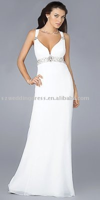 Beaded White Celebrity Inspired Chiffon Evening Gowns/Evening Dresses/Party Dresses E-1011