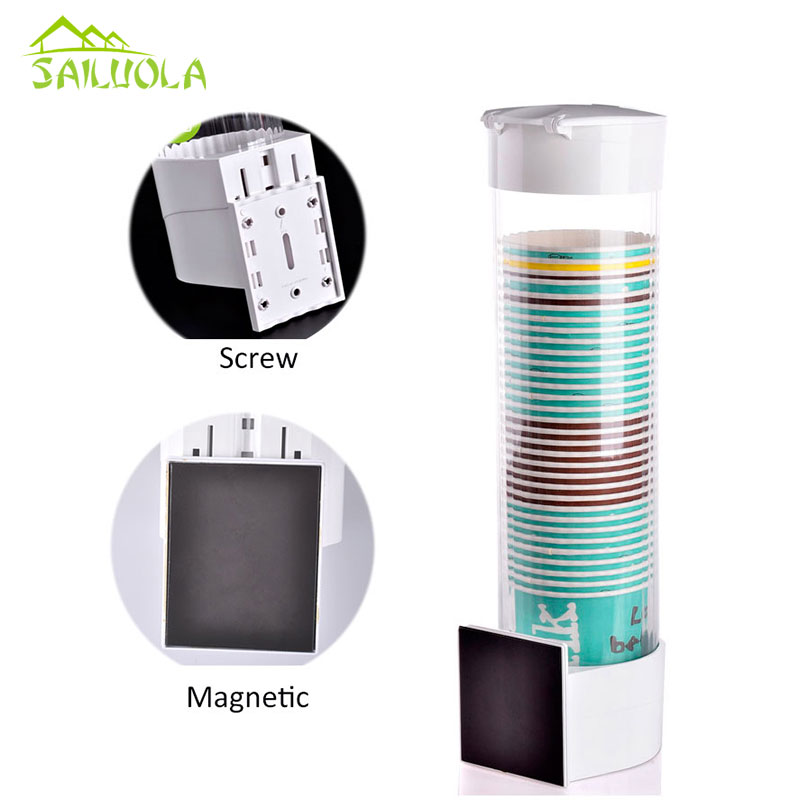 Newest Big Size Plastic Automatic disposable paper cups Dispenser Cup storage holder Magnetic Attachment For 7-9.3cm Cup