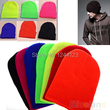 Women Men New Winter Solid Color Plain Beanie Knit Ski Cap Skull Hat Warm Cuff Blank Beany
