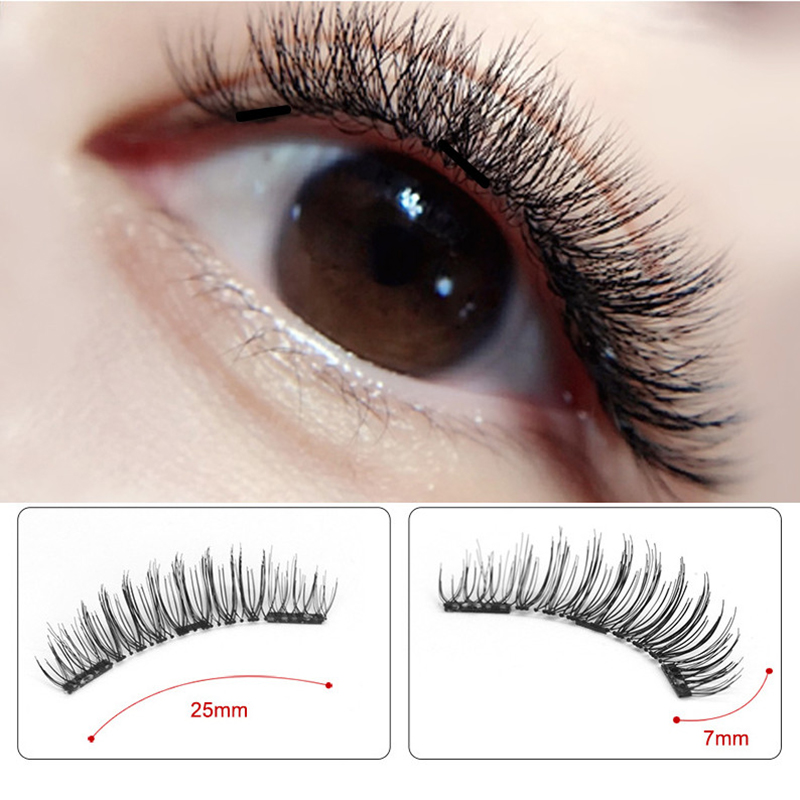 Genailish Eyelashes Magnetic False Natural 3 Magnets Set Long Wearing Without Glue Long Lasting Multiple Eyelashes Applicator