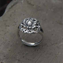 Retro 999 Silver Jewelry Thai Silver Personality Exquisite Hollow Peony Flower Accessories Female Ring цена и фото