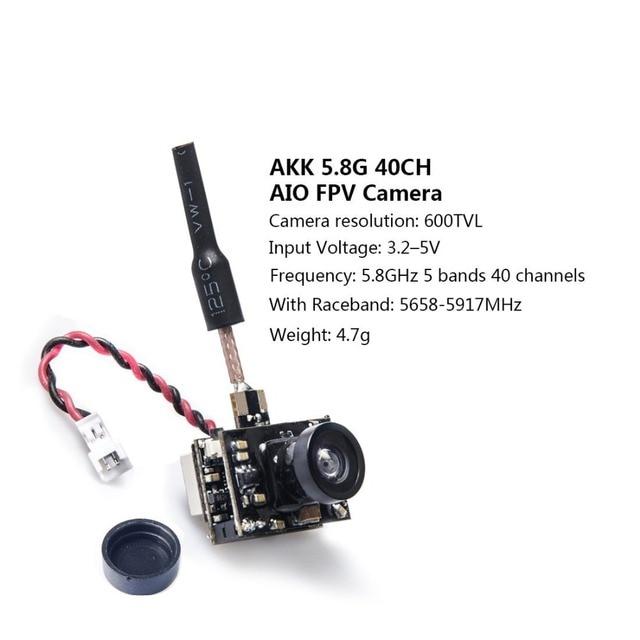 AKK BA1 5.8Ghz 40CH 25mW FPV Transmitter Raceband 600TVL FPV Micro AIO Camera for FPV Drone