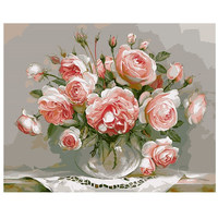 Digital Oil Painting On Canvas Handwork Gift Set Of Pink Flower 40x50cm Framed Handwork Pictures Painting