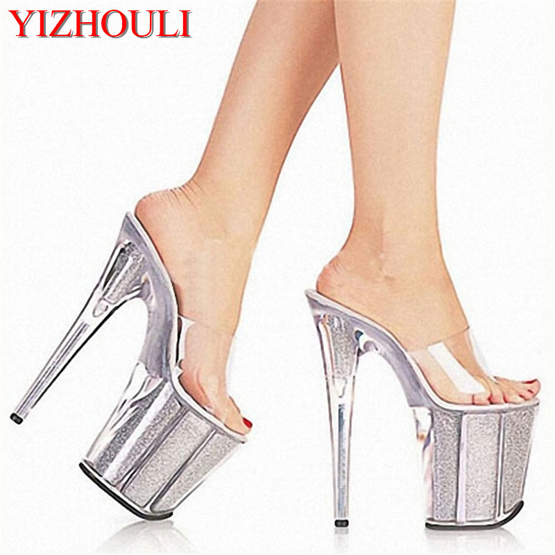 Sexy Women Crystal Slippers New Fashion 20cm High Heels Sandals Platforms Glitter Shoes Size 5-12 2017 han edition of the new fashion women s shoes big yards high heels crystal cool slippers 15cm