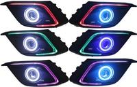 Eosuns удара глаза ангела + LED дневного света DRL (7 видов цветов Изменение по телефону) + туман с объектива проектора для Mazda 3 Axela