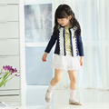Newest Baby Children Lace Coat  Long Sleeve Jackets Spring & Autumn Girls Outwear Big Kids Clothes flower child 2-8 Y