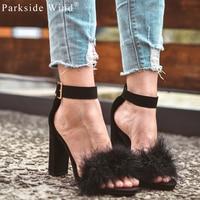 Size 36 41 Women Summer High Heels Fur Sandals Super High 10cm High Heels Woolen Shoes