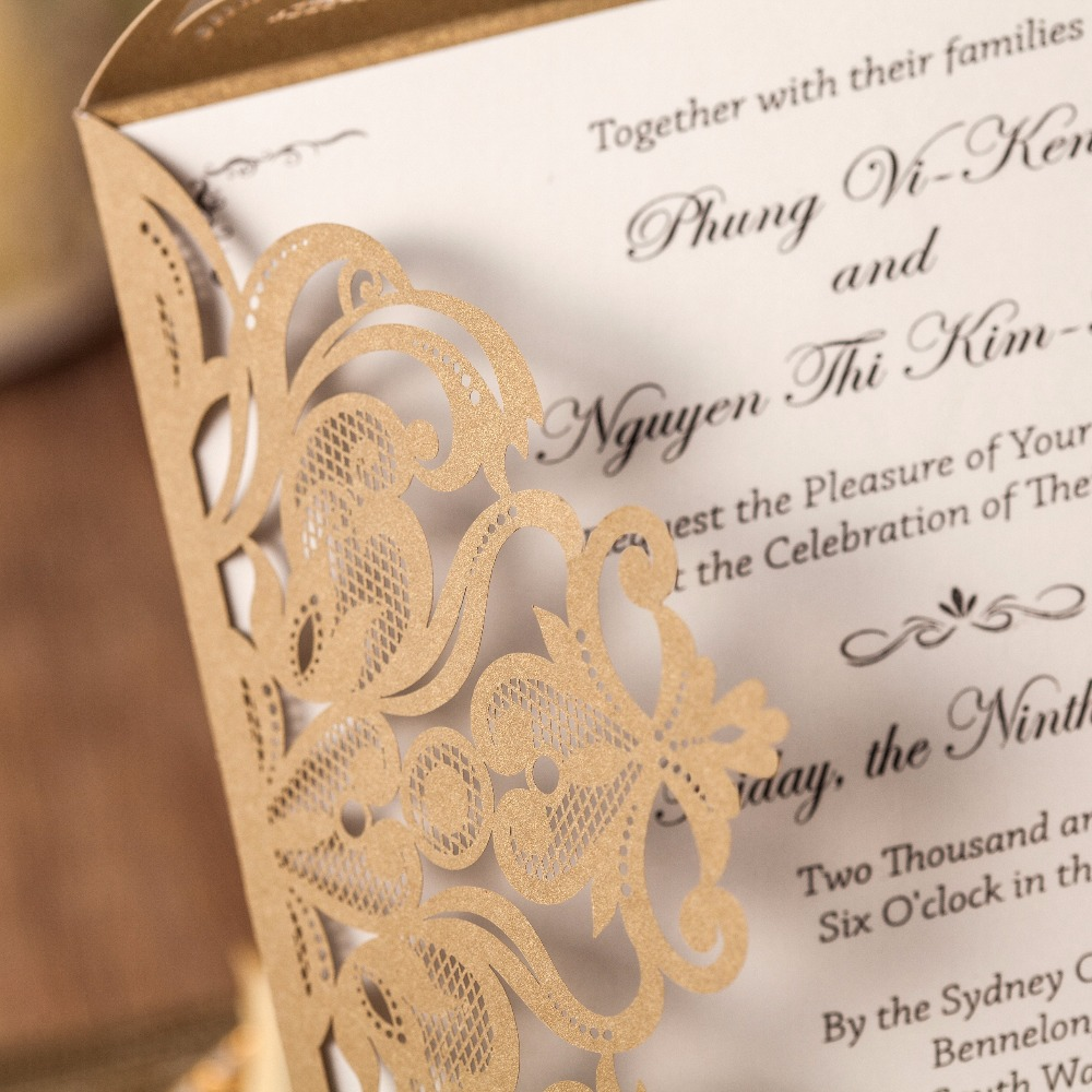 WISHMADE 50 pieces Pearl Gold Wedding Invitation Wraps Laser Cut ...