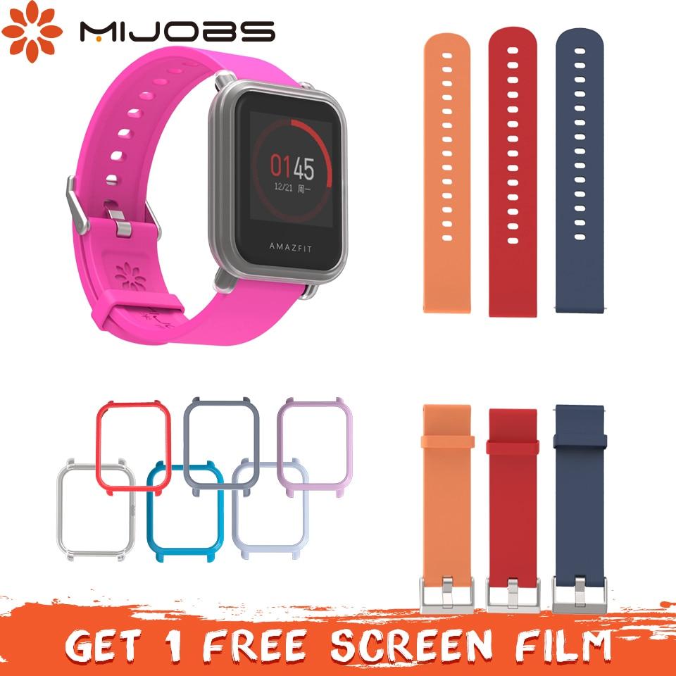 Mijobs 20mm Silicone Strap Protective Case For Xiaomi Huami Amazfit Bip BIT PACE Lite Correa Bracelet Plastic PC Shell Bumper