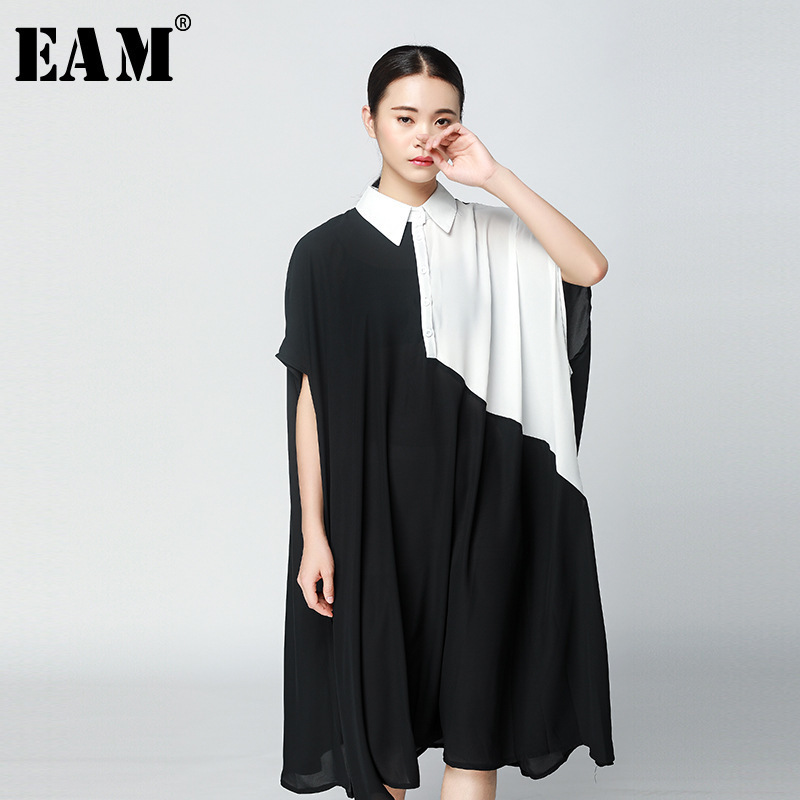 [EAM] 2018 New Summer Fashion Tide Turn-down Collar Short Sleeve Loose Big Size Patchwork Hit Color Woman Dress S761