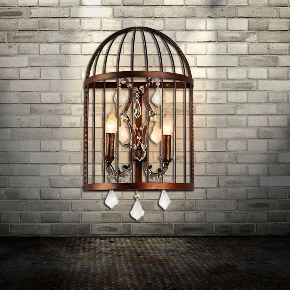 AC110-250V Edison Vintage Metal Bird Cage Wall Lights Crystal Pattern Candle Wall Sconce Lighting Home E14 2 Heads pomelo lamps ...