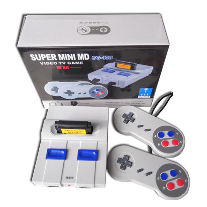 16bit Mini Retro Md Video Spiel Konsole Eingebaute 167 Klassische Spiele Handheld Familie Tv Gaming Unterstützung 2 Gamepad Player Pal & Ntsc
