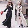 2015 Новая мода осень женщины длинное пальто тонкий длинный тренчкот плюс размер женская однобортный пальто женщина пальто