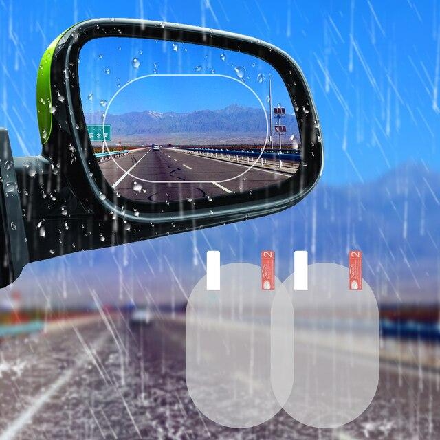 2 piezas coche espejo ventana claro película Anti deslumbramiento espejo retrovisor del coche película protectora impermeable Anti niebla etiqueta engomada del coche