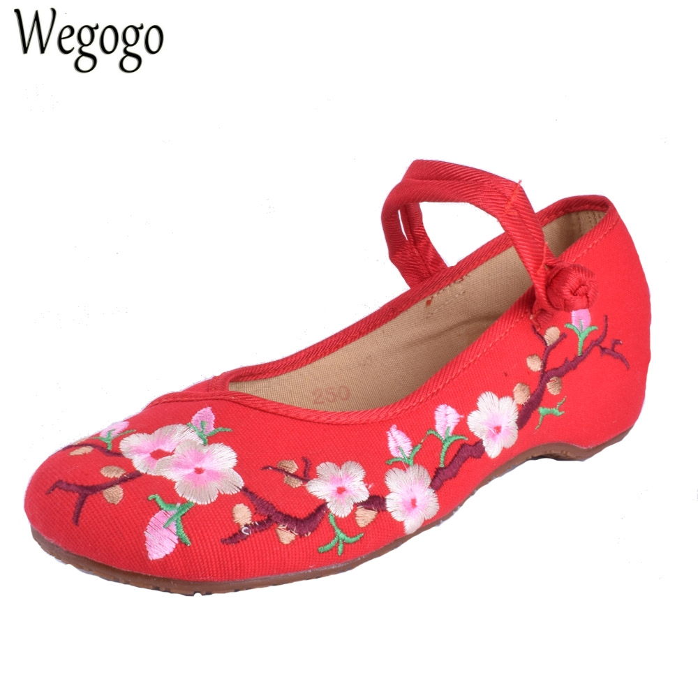 Wegogo Women Flats Shoes Comfortale Cloth Oxford National Dance Single Soft Ballet Flat Shoe For Woman Sapato Feminino wegogo ethnic women embroidery shoes mary jane shoes flats dance soft canvas dancing shoes zapatos mujer ladies flat shoes