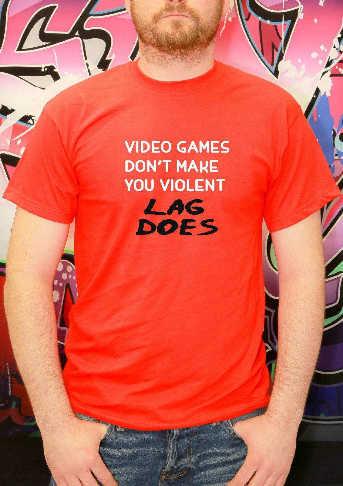VIDEO GAMES DONT MAKE ME VIOLENT LAG DOES T SHIRT NEW GAMER X BOX PS4 TEE