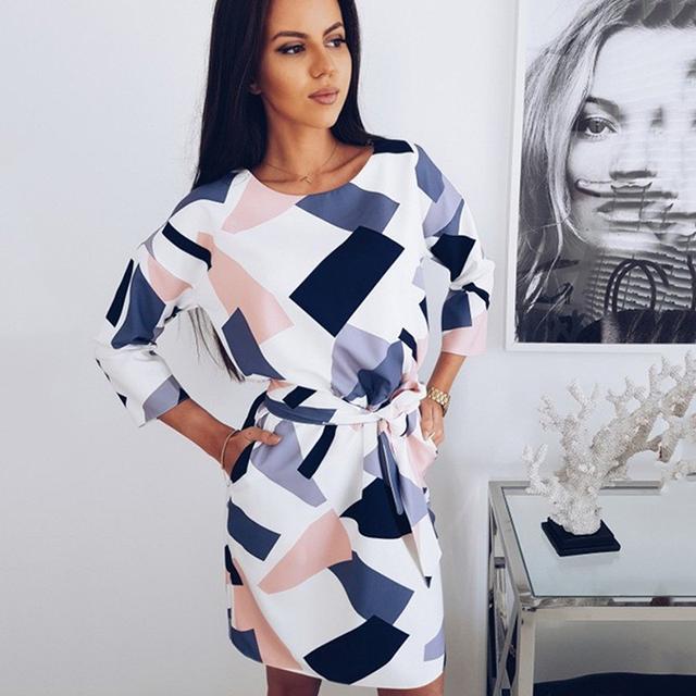 2018 Geometric Printed Sashes Pockets Autumn Dress Woman Three Quarter Sleeves O-Neck Fall Casual Loose Straight Mini Dresses