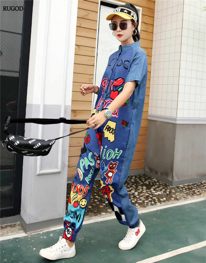 RUGOD 2019 summer women short sleeve single breasted turn-down collar blue rompers letter cartoon printing street lady