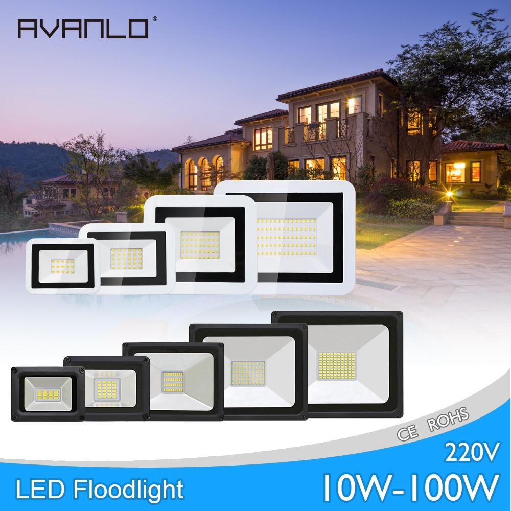 LED Flood Light 100W 50W 30W 20W 10W 220V Floodlight IP66 Waterproof Outdoor Wall Reflector Lighting Garden Square Spotlight