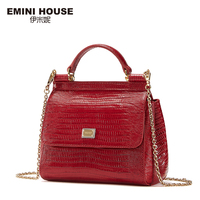 EMINI HOUSE Lizard Pattern Genuine Leather Handbag Luxury Handbags Women Bags Designer Crossbody Bags For Women