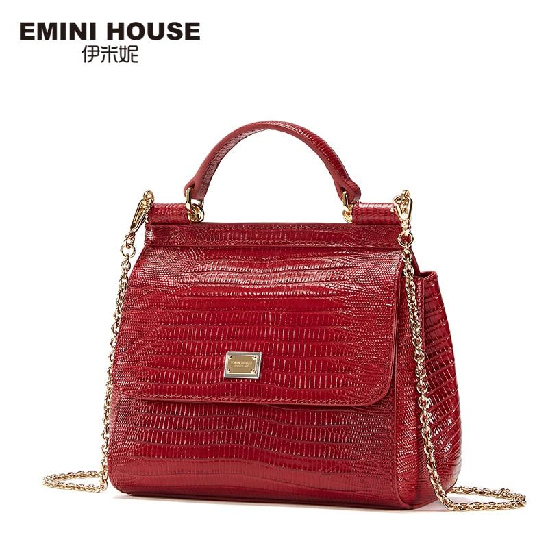 EMINI HOUSE Fashion Lizard Pattern Genuine Leather Luxury Handbags Women Bags Designer Crossbody Bags For Women Shoulder Bag fashion house