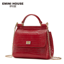 EMINI HOUSE Lizard Pattern Genuine Leather Handbag Luxury Handbags Women Bags Designer Crossbody Bags For Women Shoulder Bag