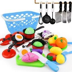 30 pcs DIY Bonito Corte De Frutas Legumes Pretend Play Toy Set Cozinha Cozinhar Alimentos Cosplay Meninas Crianças Kid Brinquedo Educativo presente
