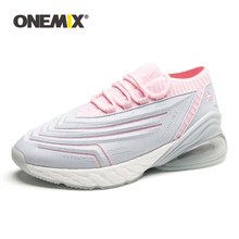 ONEMIX Women Running Shoes Athletic Leather Air Cushion Walking Sneakers Breathable Outdoor Jogging Sports Shoes Big Size 41 44 faux leather insert breathable athletic shoes