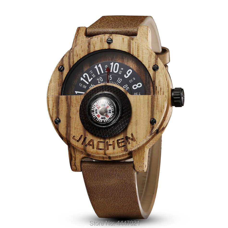 Creative boussole tourne-disque montre en bois hommes bracelet en cuir Quartz sport bois naturel montres femmes cadeaux relogio masculino