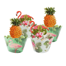 24pcs Flamingo Paper Pineapple Cupcake Wrappers Toppers for Kids Balloon Tropical Hawaii Party Cake Decorations