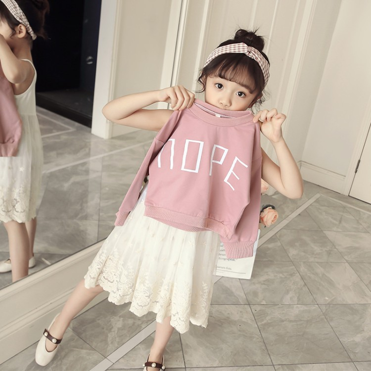 2 pieces set/dress /girl Princess dress/girl/ /Korean style/ children /Long sleeve/Leisure/ spring gauze glasgow k girl in pieces