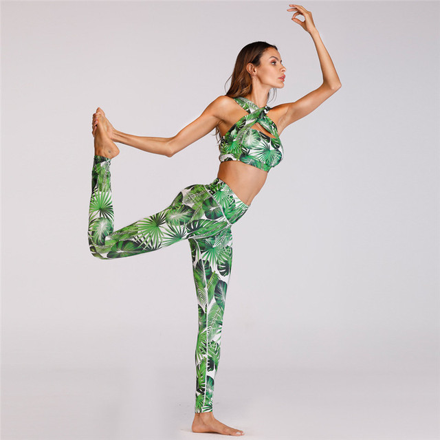 Women's Fresh Leaf Print Sports Leggings and Crop Top Set  S-XL