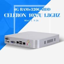 Celeron C1037U 4 г 512ram дешевые мини настольных Itx компьютер тонкий мини-пк вентилятор промышленный компьютер поддержка фильмы