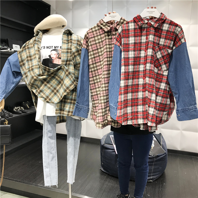 Vintage Woolen Plaid Stitching Jeans Long Sleeve Shirts