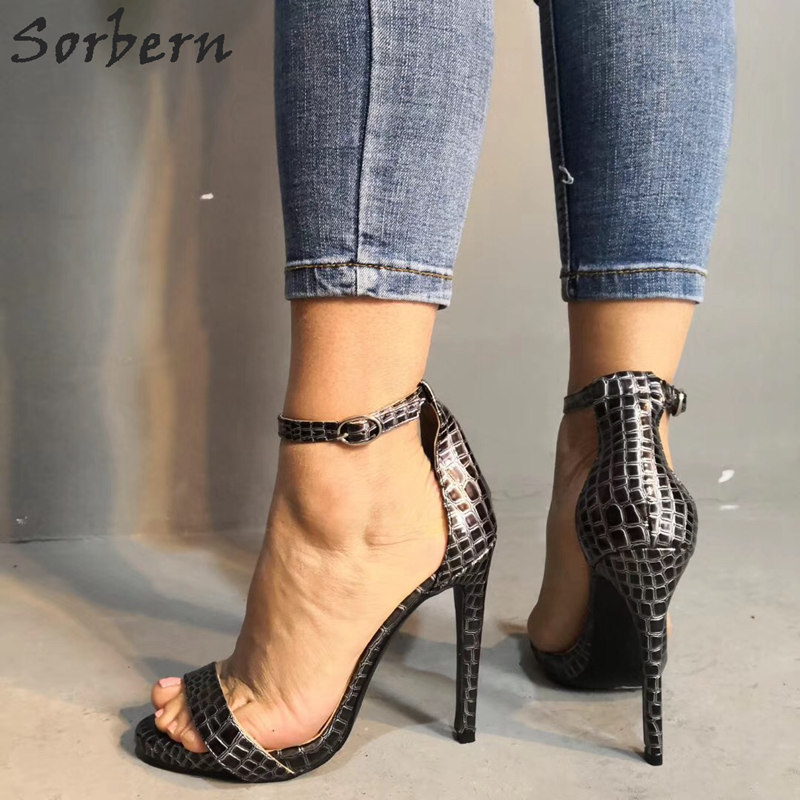 Sorbern Snakeskin Women Sandals Ankle Strap One Strap Female Shoes Size 12 Womens Shoes Trendy Sandals 2019 Fashion - 4